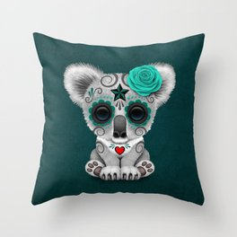 Teal Blue Day of the Dead Sugar Skull Baby Koala Bear Throw Pillow