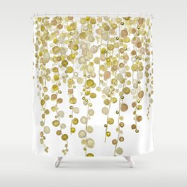 golden string of pearls watercolor 2 Shower Curtain