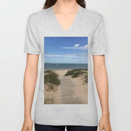 Breezy Seaside Path Unisex V-Neck