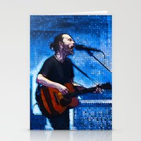 radiohead Stationery Cards featuring Radiohead / Thom Yorke by JR van Kampen