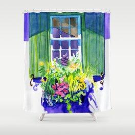 Window-box Watercolor Shower Curtain