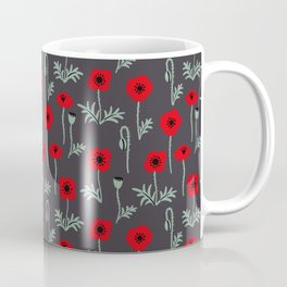Red poppy flower pattern Coffee Mug