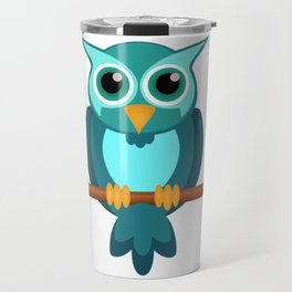 Blue Chibi Owl Travel Mug