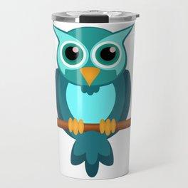Blue Chibi Owl Travel Mug