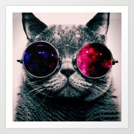 sunglasses cat Art Print
