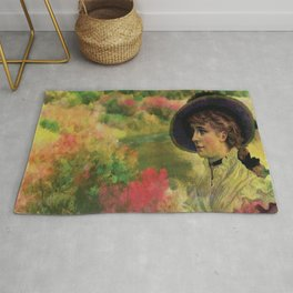 VINTAGE LADY IN THE COUNTRYSIDE Pop Art Rug