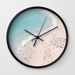 Beach Summer Seaside - Aerial Beach photography by Ingrid Beddoes Wall Clock