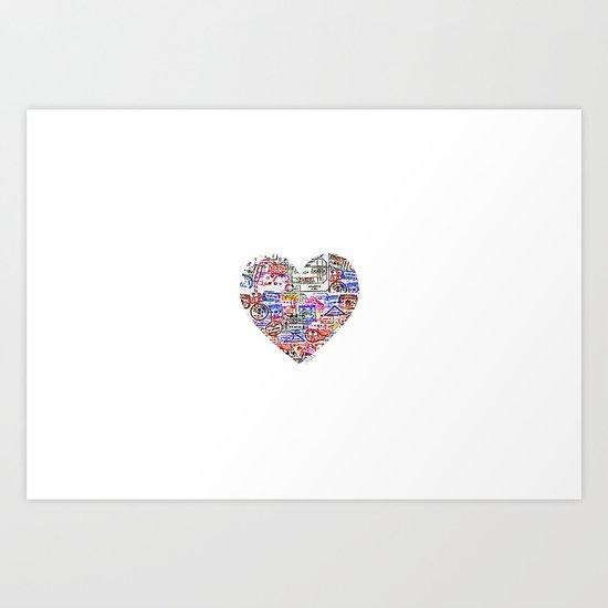 True Love, Passport Stamp Heart Art Print