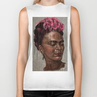 frida Biker Tanks featuring Frida by Absolem Studio