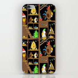 Chicken Coop Christmas - funny chickens, farm, holidays iPhone Skin