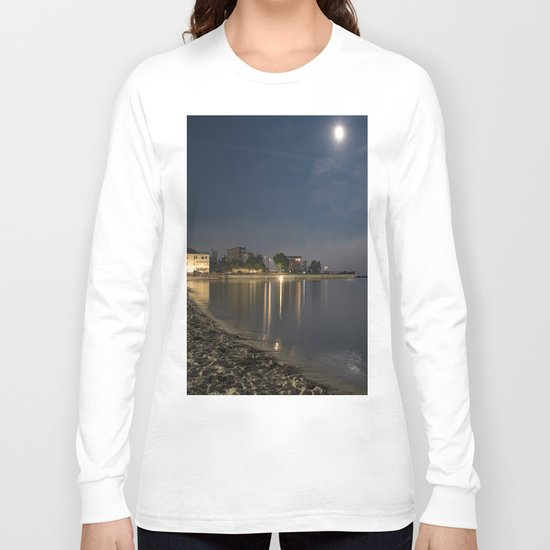 Foggy Moonlit Beach Long Sleeve T-shirt