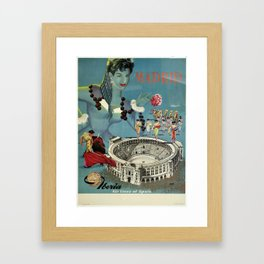 Madrid, Iberia Air Lines - Vintage Poster Framed Art Print