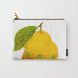 Eat Green Love Planet Pear Burger with Avocado Veggie Cheese White BG Art Print Carry-All Pouch