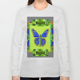 BLUE & GREEN  BUTTERFLY PERIDOT GEMMED GEOMETRIC Long Sleeve T-shirt