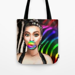 Retro Pinup Girl Rainbow Bubble Gum & Zebra Print Tote Bag