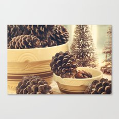pinecones in yellow ware Canvas Print