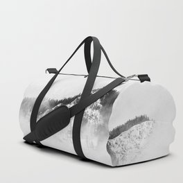 Minimalist Ominous Forest Mountain Foggy Misty Black And White Photo Duffle Bag