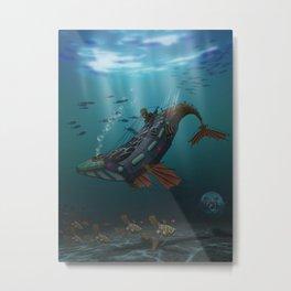 Steampunk Humpback Submarine Metal Print
