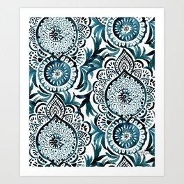 Mandala Medallion Deep Teal Art Print