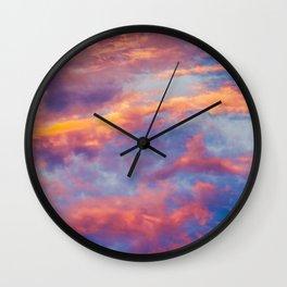 Beautiful Pink Orange Blue Purple Cotton Candy Clouds Fairytale Sky Wall Clock
