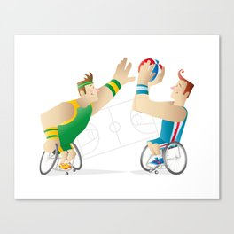 Basketball players in wheel chair Canvas Print