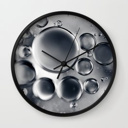 Silver Macro Photography Water Droplets Wall Clock