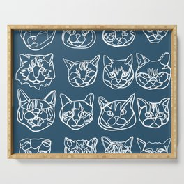 Blue and White Silly Kitty Faces Serving Tray