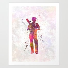 Cricket player batsman silhouette 10 Art Print