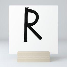 R Monogram (Hand 2) Mini Art Print