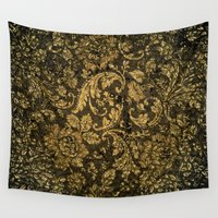 damask Wall Tapestries featuring Decorative damask by nicky2342