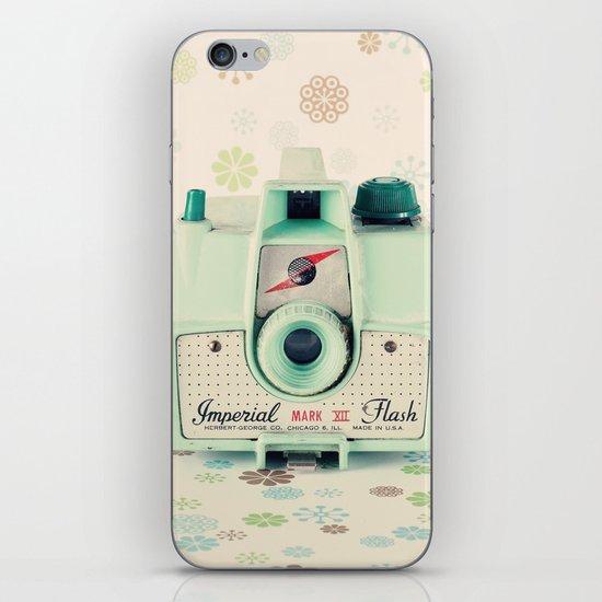 Mint Retro Film Camera on Beige - Cream Pattern Background  iPhone & iPod Skin