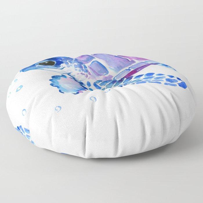 Blue Purple Sea Turtle, Turtle for nursery Floor Pillow