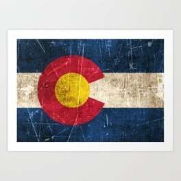 Vintage Aged and Scratched Colorado Flag Art Print