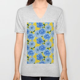 Elegant blue yellow watercolor hand painted floral Unisex V-Neck