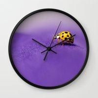 ladybug Wall Clocks featuring Ladybug by Juste Pixx Photography