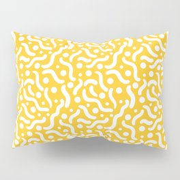 Yellow background with curves and dots. Pillow Sham