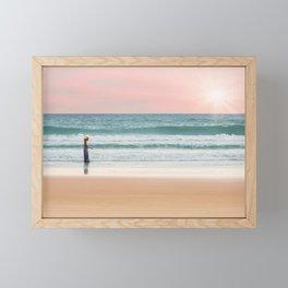 Girl Walking on the Beach Framed Mini Art Print