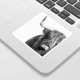 Highland Cow Portrait - Black and White Sticker