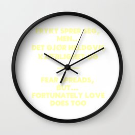 SKAM - Fear spreads, but fortunately love does too. Wall Clock