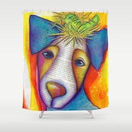 Dog Bird Nest Jack Russell Terrier Original Art The Nest Shower Curtain