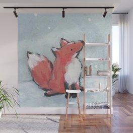 fox in snow Wall Mural