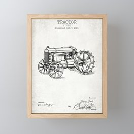 Tractor old patent Framed Mini Art Print