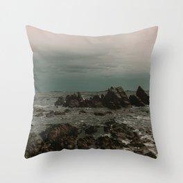 Dark Blue Rocky Ocean Throw Pillow