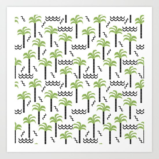 Palm trees tropical minimal ocean seaside socal beach life pattern Art Print