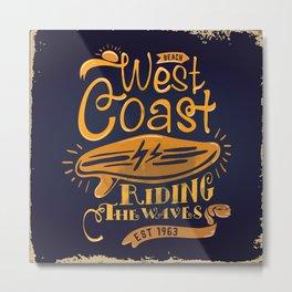 West Coast Beach Riding The Waves Metal Print