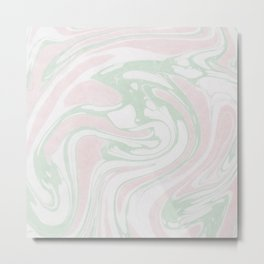 Paper Marbling Marble Effect Swirl Pink Green Metal Print