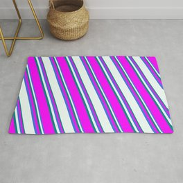 Royal Blue, Mint Cream, Teal, and Fuchsia Colored Lined Pattern Rug