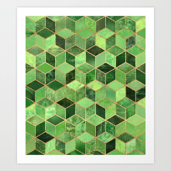 Green Cubes Art Print