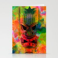 karu kara Stationery Cards featuring Tiki Kara by Ionic Slasher