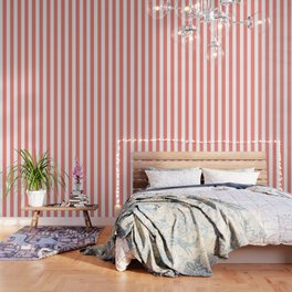 Congo pink - solid color - white vertical lines pattern Wallpaper
